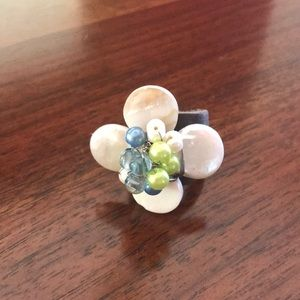Jewelry - Chunky flower ring with adjustable leather band